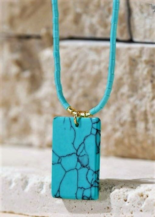 Natural Stone & Seed Bead Necklace Turquoise