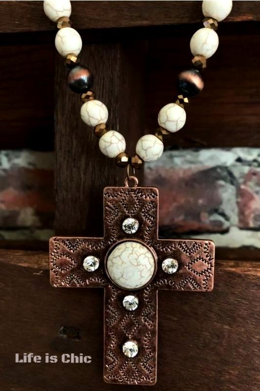 VICTORIAN INSPIRED CROSS NECKLACE IN IVORY