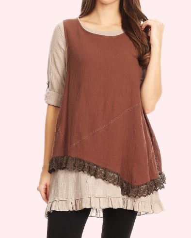 FREE SPIRIT SET TOP & VEST 2 PCS 100% COTTON IN BROWN & TAUPE-----------sale
