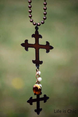BOHEMIAN VICTORIAN CROSS NECKLACE [product vendor] - Life is Chic Boutique