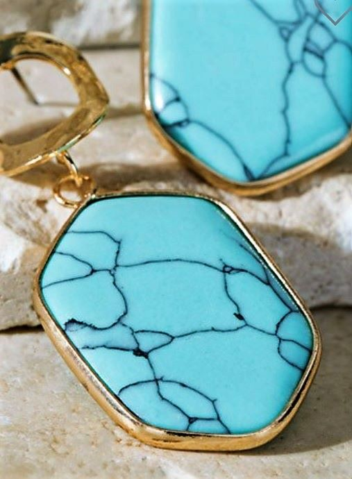 Natural Stone Hammered Metal Fab Earrings in Blue Turquoise