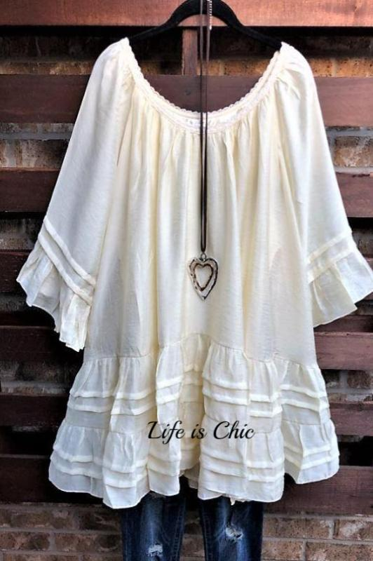 BOHO SWING OVERSIZED DRESS IN BEIGE