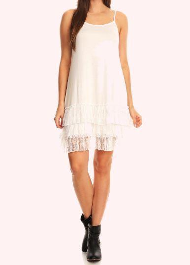SO SWEET ROMANCE LACE SHABBY SLIP DRESS EXTENDER TOP IN WHITE