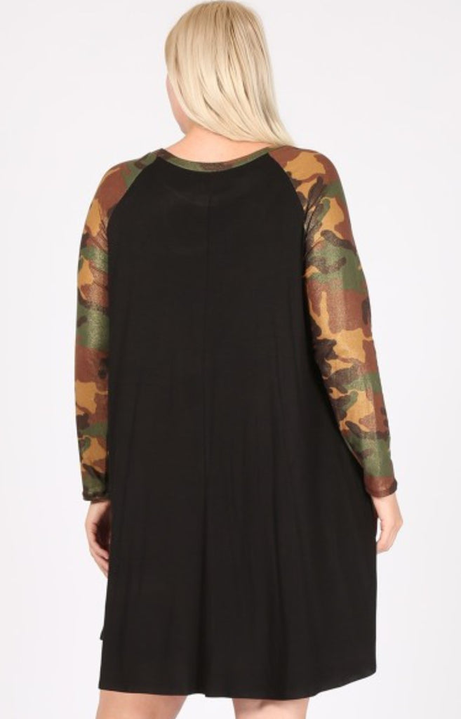 GOTTA GET GOING DRESS IN CAMO MULTI-COLOR  & BLACK 1X 2X 3X