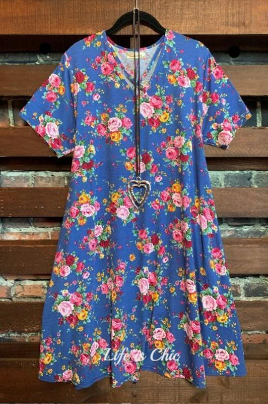 STEP INTO SPRING FLORAL DRESS IN BLUE MIX
