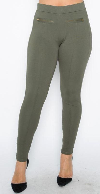 THE PERFECT HIGH WAIST PANTS LEGGINGS PLUS SIZE IN OLIVE GREEN [product vendor] - Life is Chic Boutique