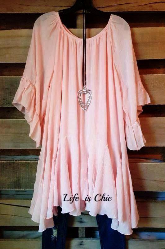 BOHO-HIPPIE SWING OVERSIZED PEASANT TUNIC IN PINK [product vendor] - Life is Chic Boutique
