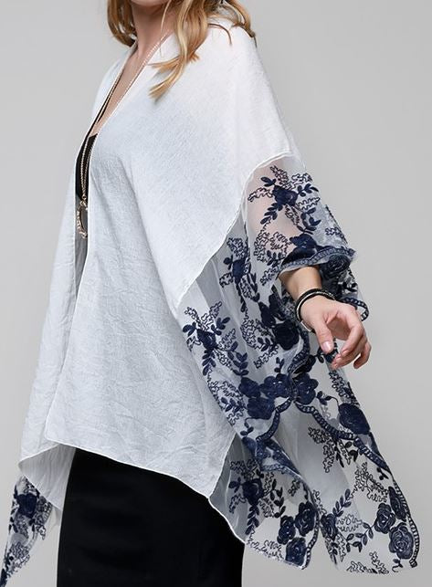 BEAUTY OF THE ROSES EMBROIDERED KIMONO NAVY & WHITE