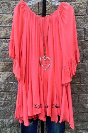 BOHO- HIPPIE SWING OVERSIZED TUNIC IN CORAL [product vendor] - Life is Chic Boutique