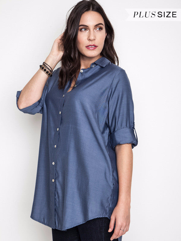 CLASSICALLY URBAN SHIRT DRESS DENIM - SALE [product vendor] - Life is Chic Boutique