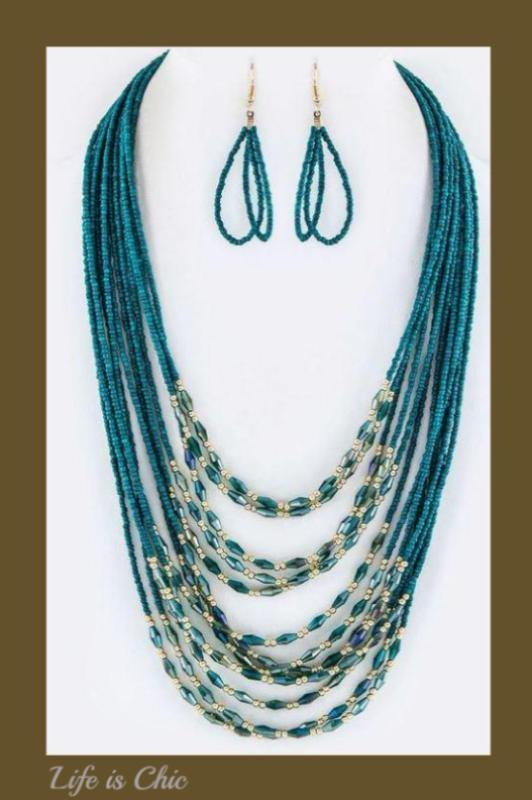 ANYWHERE LAYERED MIX BEAD NECKLACE IN TEAL [product vendor] - Life is Chic Boutique