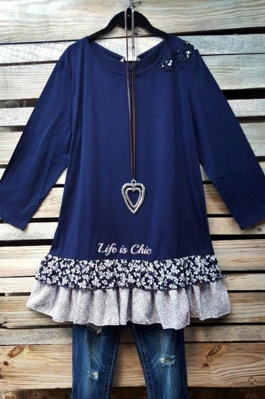 ADORE ME TOP EMBELLISHED IN NAVY BLUE [product vendor] - Life is Chic Boutique