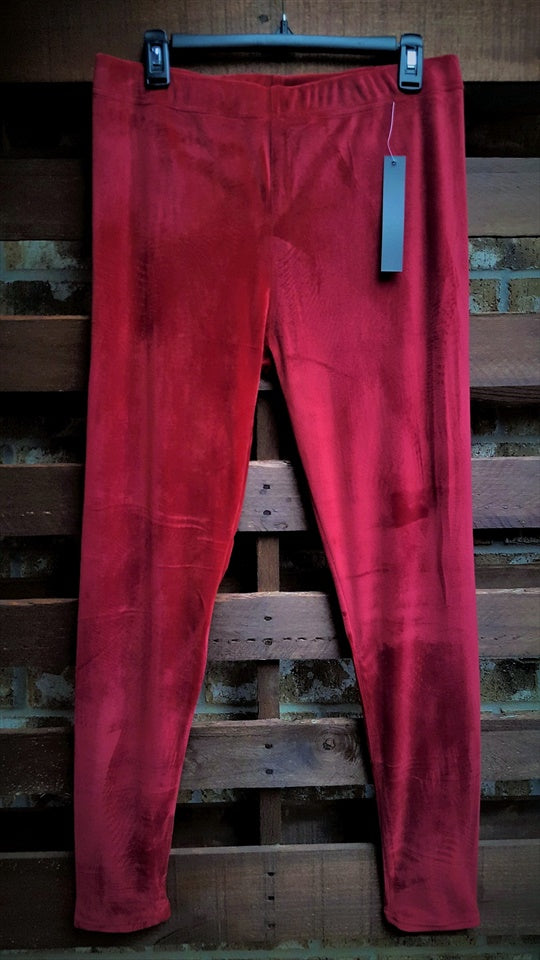 VELOUR BRUSHED ANKLE LEGGINGS PLUS SIZE IN BURGUNDY