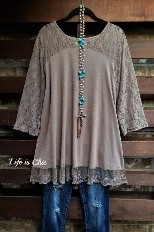 YOU 'RE TOO PRECIOUS LACE TOP IN LATTE
