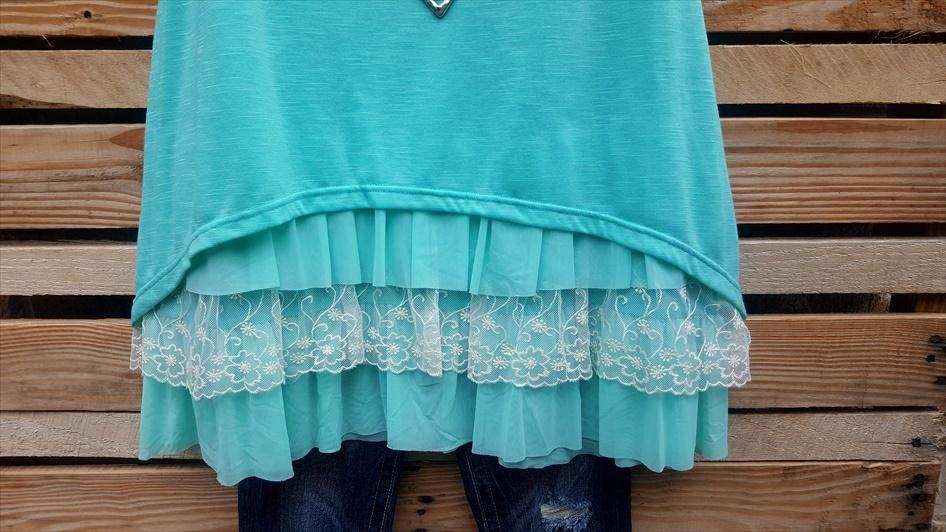 SWEET LIFE LACE TUNIC IN MINT - sale [product vendor] - Life is Chic Boutique