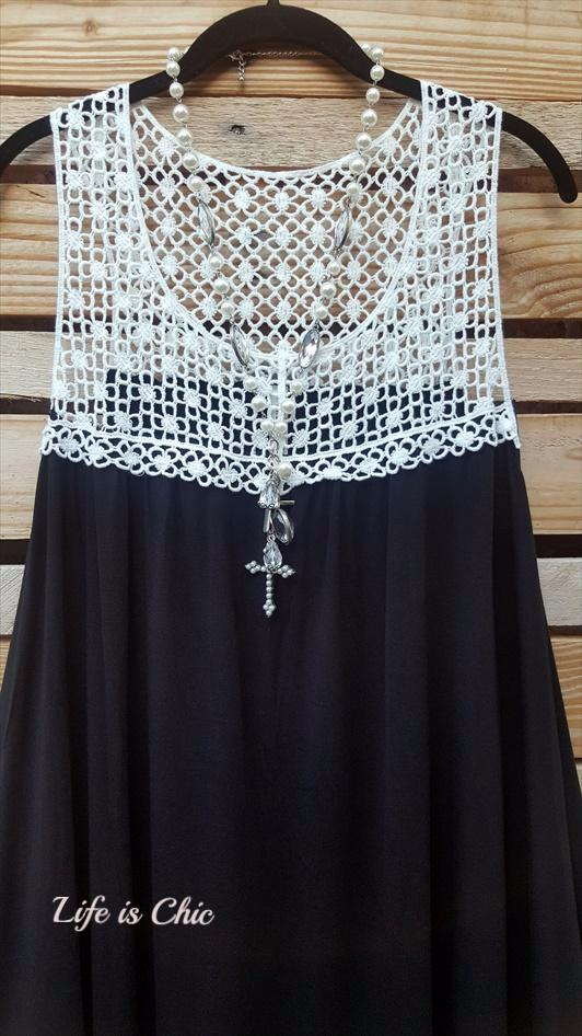 DREAMS OF YOU LACE DRESS IN BLACK & DOVE [product vendor] - Life is Chic Boutique