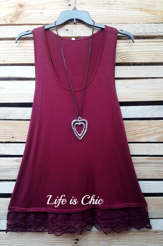 LACE LAYERING SLIP BASIC TOP IN BURGUNDY [product vendor] - Life is Chic Boutique