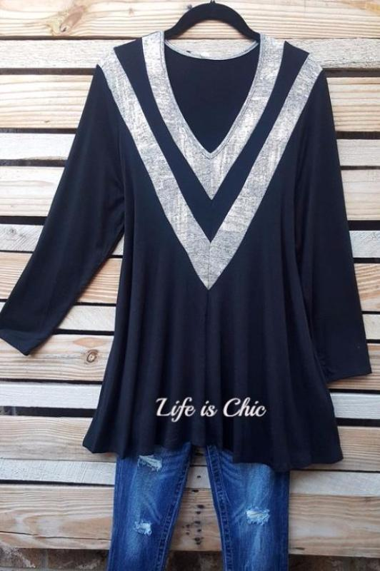 COUNTING STARS EMBELLISHED V-STRIPE DETAIL TUNIC IN BLACK/ GOLD -sale [product vendor] - Life is Chic Boutique