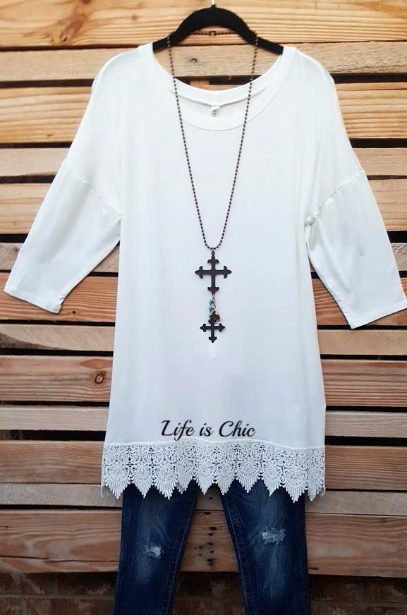 WHEREVER YOU GO LACE T-SHIRT TUNIC - OFF WHITE [product vendor] - Life is Chic Boutique