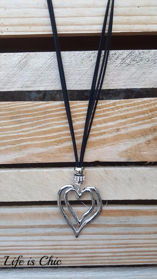 HEART ON HEART DESIGN NECKLACE [product vendor] - Life is Chic Boutique