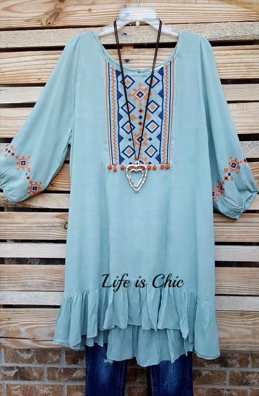 GOING MY WAY EMBROIDERED DRESS IN SAGE [product vendor] - Life is Chic Boutique