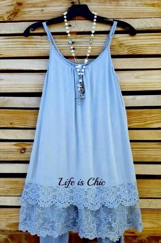 FOREVER MINE LACE LAYERING DRESS EXTENDER SLIP IN BLUE [product vendor] - Life is Chic Boutique