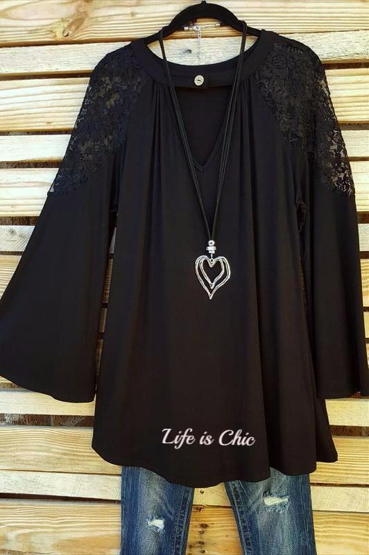 TAKE ME TO DANCE TONIGHT LACE TOP - BLACK [product vendor] - Life is Chic Boutique