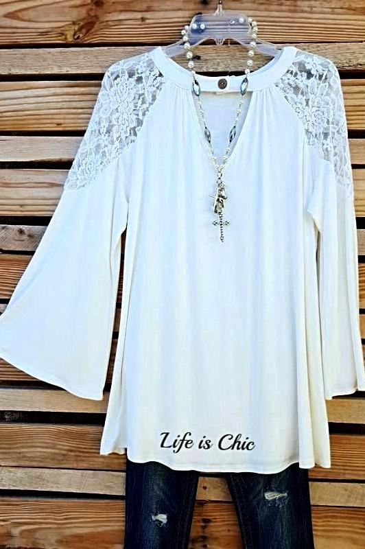 TAKE ME TO DANCE TONIGHT LACE TOP IN IVORY [product vendor] - Life is Chic Boutique