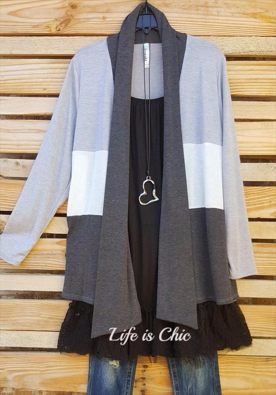 BY YOUR SIDE CARDIGAN IN GRAY MIX -sale [product vendor] - Life is Chic Boutique