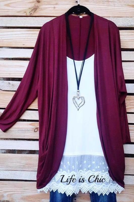 PLAIN & CLASSY CARDIGAN JACKET IN BURGUNDY [product vendor] - Life is Chic Boutique