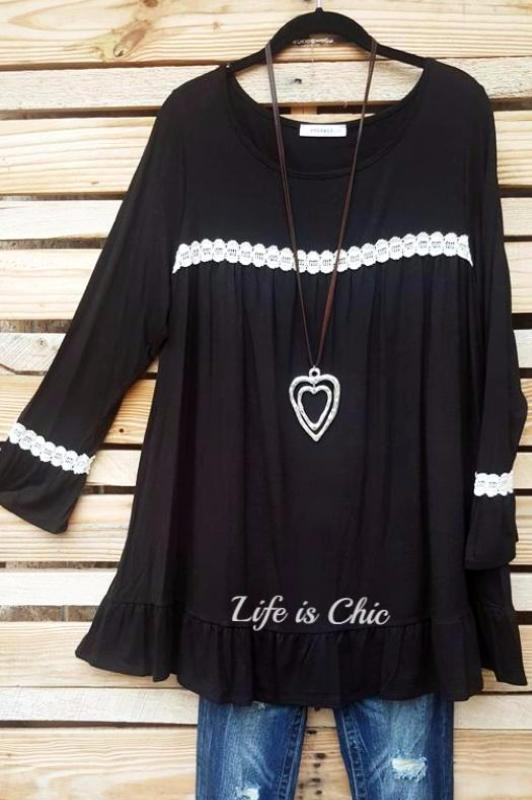 LOVELY CASUAL LACE TUNIC - BLACK [product vendor] - Life is Chic Boutique