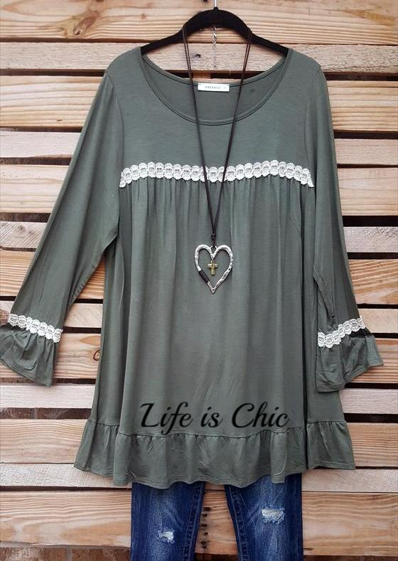 LOVELY CASUAL TOP IN SAGE [product vendor] - Life is Chic Boutique