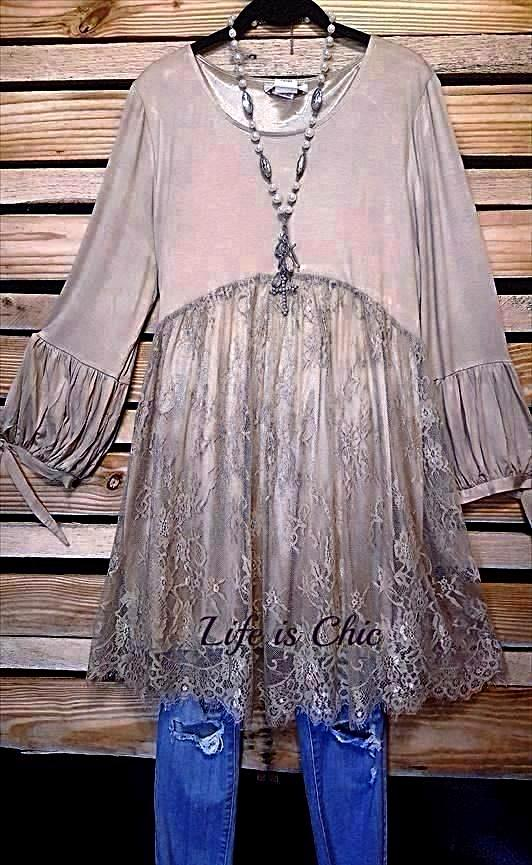 CROSS MY HEART VICTORIAN INSPIRED TUNIC IN TAUPE [product vendor] - Life is Chic Boutique