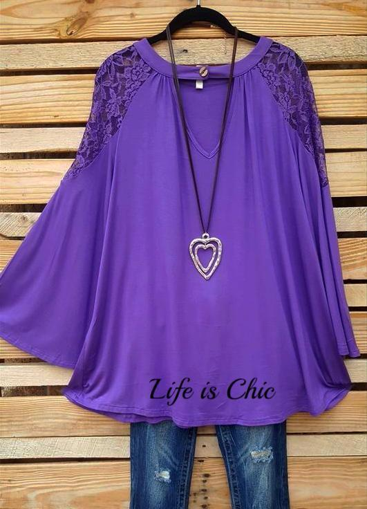 TAKE ME TO DANCE TONIGHT LACE TOP - AMETHYST [product vendor] - Life is Chic Boutique