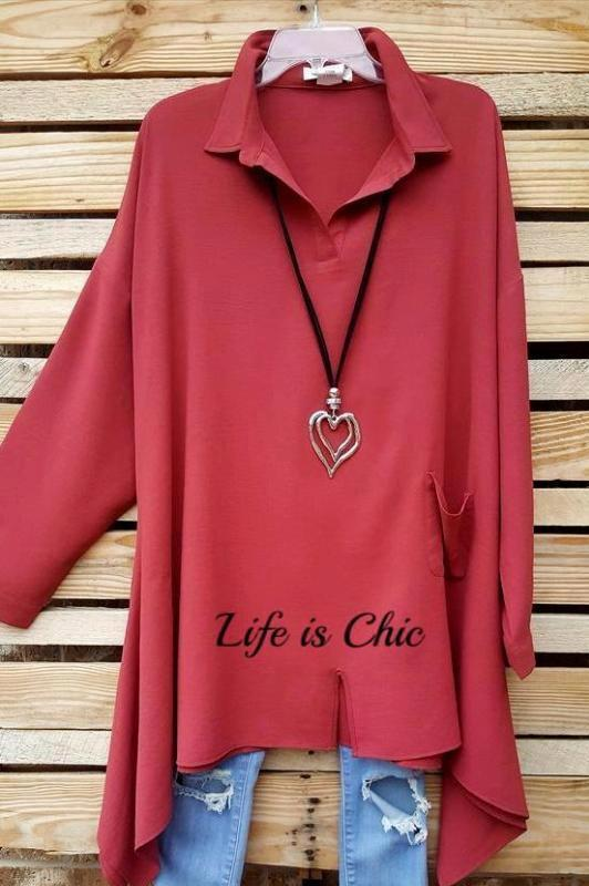 CASUAL CHIC & BEAUTIFUL OVERSIZED COMFY TUNIC IN BRICK [product vendor] - Life is Chic Boutique