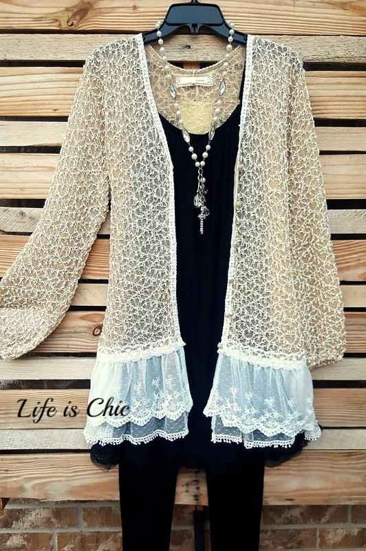 SWEETEST LACE CARDIGAN EMBELLISHED DETAILING IN CHAMPAGNE [product vendor] - Life is Chic Boutique