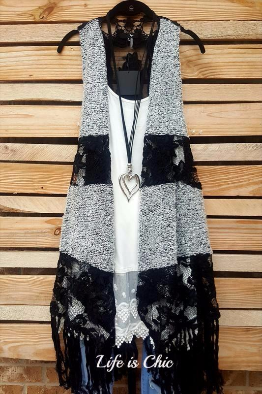 GYPSY CHIC STYLISH LACE & FRINGE VEST IN GRAY/BLACK [product vendor] - Life is Chic Boutique