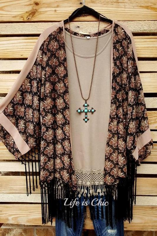 FRINGE LE FLEUR-DE-LIS KIMONO IN BLACK & BLUSH - sale [product vendor] - Life is Chic Boutique