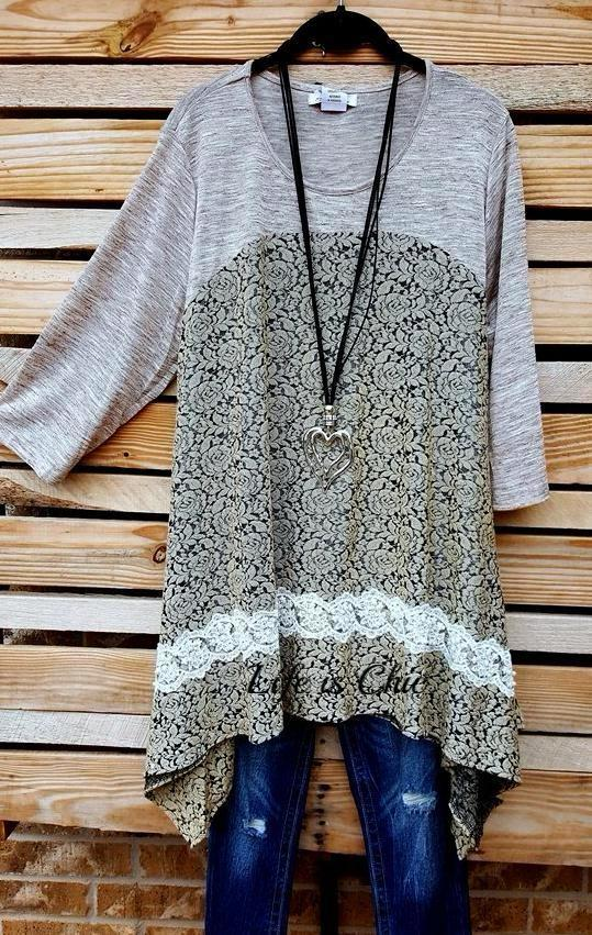 LOVELY & FASHION PEARL LACE STYLISH TUNIC IN TAUPE [product vendor] - Life is Chic Boutique