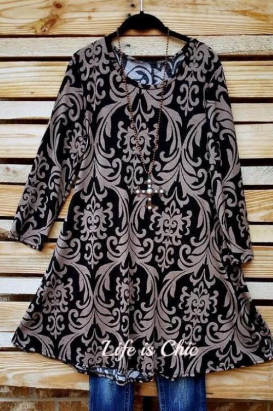 DAMASK FAIRYTALE TUNIC IN BLACK & TAUPE [product vendor] - Life is Chic Boutique