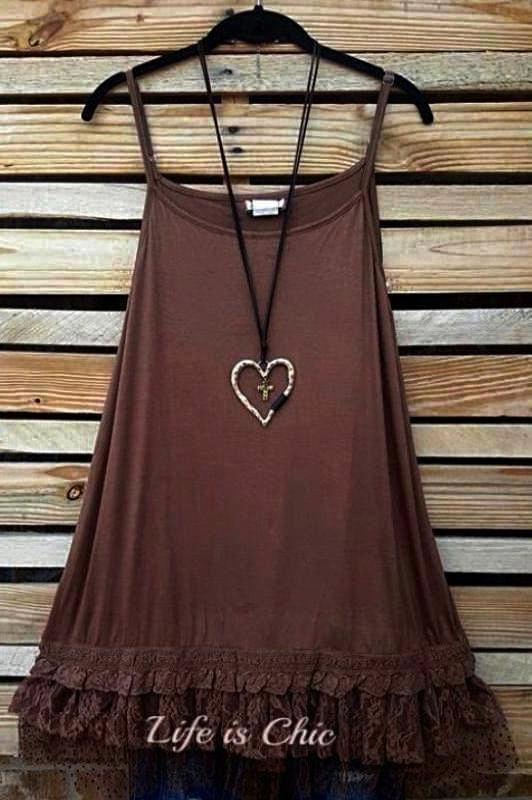 THE PERFECT WISH DRESS SLIP EXTENDER LACE IN BROWN [product vendor] - Life is Chic Boutique