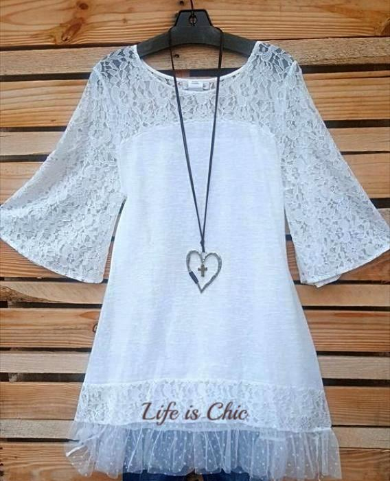 MY PRETTY FAVORITE LACE T-SHIRT DRESS IN WHITE [product vendor] - Life is Chic Boutique