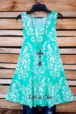 FRESH & PRETTY DAMASK TANK TUNIC IN MINT [product vendor] - Life is Chic Boutique