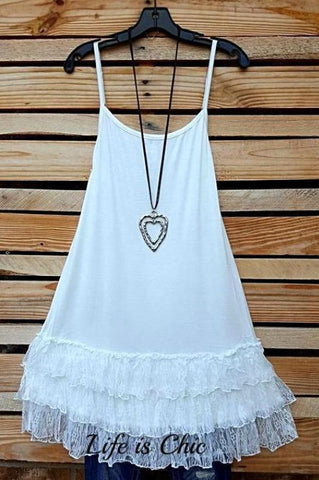 LOVE OF MY LIFE RUFFLE LACE SLIP CAMISOLE EXTENDER DRESS IN LATTE