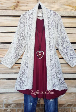 MON AMOUR LACE CARDIGAN IN TAUPE [product vendor] - Life is Chic Boutique