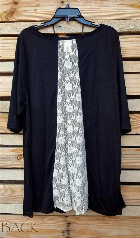 LACE BURNOUT T-SHIRT TUNIC IN BLACK SIZE LARGE - XL - 1X - sale [product vendor] - Life is Chic Boutique
