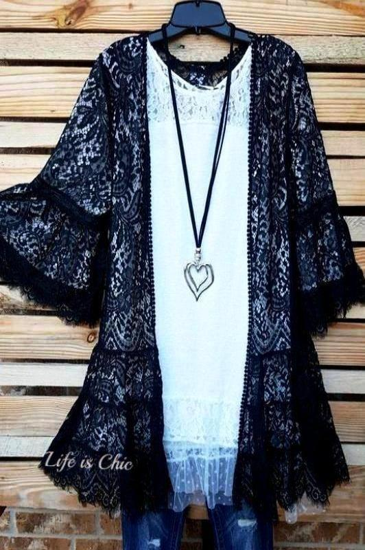 GO OUT IN STYLE  WILD ROSE LACE CARDIGAN IN BLACK [product vendor] - Life is Chic Boutique