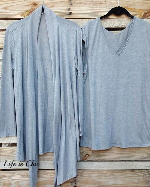 SIMPLY PERFECT 2 PCS SET CARDIGAN & TANK TOP MATCH IN HEATHER GRAY [product vendor] - Life is Chic Boutique