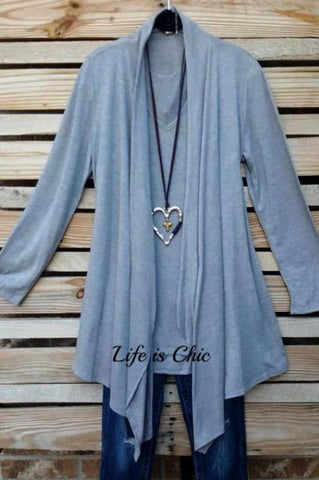 GET YOUR GROOVE ON TUNIC IN GRAY & PINK MIX