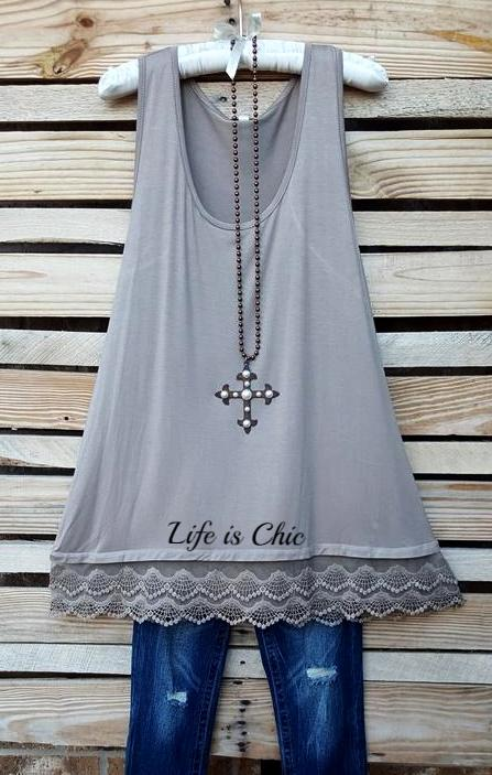 LACE LAYERING BASIC SLIP TOP IN SOLID TAUPE [product vendor] - Life is Chic Boutique